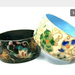 Vintage Wide Chinese Cloisonne Bracelet Lot